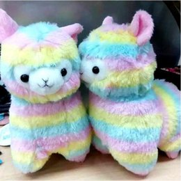 Discount alpaca plush Wholesale-1pcs 17cm Rainbow Alpaca Vicugna Pacos Plush Toy Japanese Soft Plush Alpacasso Baby Plush Stuffed Sheep Alpaca Gifts