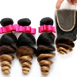 Discount ombre brazilian loose wave closure Honey Blonde Ombre Brazilian Loose Wave Hair Extensions #1B 4 27 Three Tone Ombre Hair Bundles With Lace Closure Free Middle 3 Part