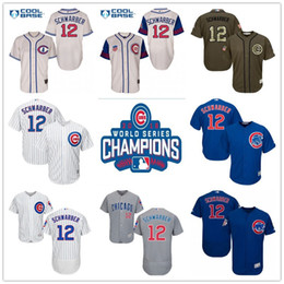 online shopping 2016 World Series Champions Patch Kyle Schwarber Chicago Cubs Baseball Jerseys Home White Blue Gray Road Throwback Cream
