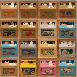 Gato robar moneda hucha ahorro caja de dinero moneda banco Electric Panda caja de ahorros Cat automatizado robar monedas caja de almacenamiento 16 diseño LJJK645