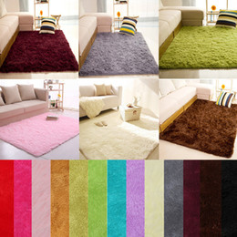 Tapetes macios Anti-Skid Shaggy Area Rug Sala de jantar Home Bedroom Tapete Tapete de piso, 14 cores, 4 Tamanhos