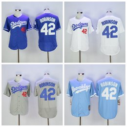 Доджерс # 42 Джеки Робинсон Бейсбол Jerseys Мужчины Majestic Бейсбол носит белый / синий / светло-синий / серый цвета Оптовая Робинсон Jerseys