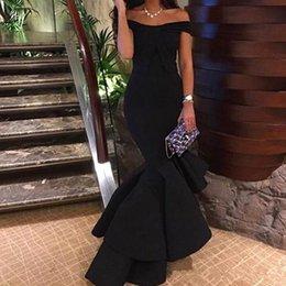 Wholesale 2017 Negro Sexy Sexy Hi Lo de los hombros Vestidos de noche de sirena Tiered vestidos de fiesta Vestidos de fiesta de celebridad de alfombra roja por encargo