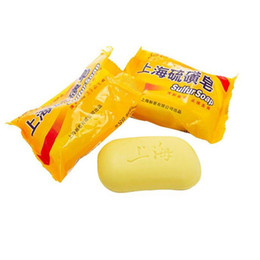 Wholesale 85g Shanghai Sulfur Soap Skin Conditions Acne Psoriasis Seborrhea Eczema Anti Fungus Perfume Butter Bubble Bath Healthy Soaps ZA1723