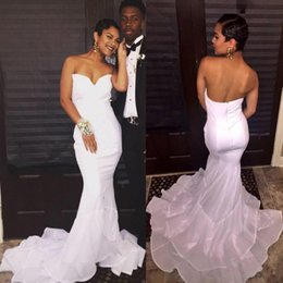 Beautiful Layers White Prom Dresses 2017 Sexy Backless Mermaid Sweetheart Vestidos Stretch Satin Party Gowns Arabic with Court Train