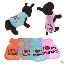 online shopping Pet Vest Shirt Summer Dog Clothes I Love My Daddy Mommy Cotton Clothes Dog Puppy Thin Cotton Blends Pet Clothes Apparel S XXL