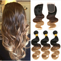 Discount ombre weaves closure Ombre Hair Extensions Three Tone Brown Blonde 1B 4 27 Ombre Peruvian Body Wave Human Hair Weave Bundles With 4x4'' Lace Top Closure