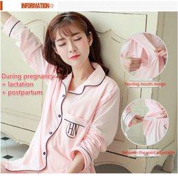 Período e as mulheres de algodão pijamas confinadas levar lazer desgaste cardigan de mangas compridas calças maternidade roupas de enfermagem no inverno