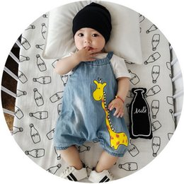 Wholesale Cartoon Baby Romper Nouvelle girafe imprimé Denim Boys Bodysuit Mode Vert jeans imprimé Combinaisons infantile Newborn Clothes C1217