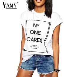Wholesale Las camisetas de las mujeres al por mayor Señoras Las tapas de las mujeres Forme a marca de fábrica el diseño de la marca de fábrica UNA CARES las letras causales de la impresión de la letra más la ropa de las mujeres del tamaño
