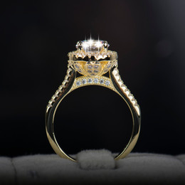 2016 new fasion jewelry real 925 sterling silver ring 18k gold plated engagement wedding rings aaaaa cubic zircon for women cheap real 18k gold wedding - Cheap Real Wedding Rings