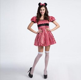 Wholesale 10Pcs Nouvelle Arrivée Sexy Cosplay Mouse White Dots Red Women Dress Classic Halloween Uniform Temptation Stage Performance Clothing