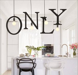 Pendant Lamp Letters Wrought Iron Chandelier Creative Personality Balcony  Clothing Store Study Restaurant Bar Coffee House