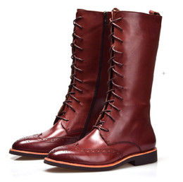 Discount Brown Knee High Mens Leather Boots | 2017 Brown Knee High ...