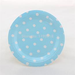 wholesale 60pcs pack blue polka dot plates wedding baby shower party decorative paper plates free shipping - Decorative Paper Plates