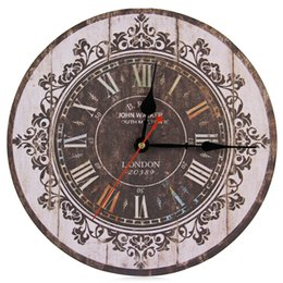 wholesale new arrival designer silent classic retro analog multi color wood round decorative accessories vintage design wall clock - Designer Wall Clocks Online