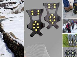 10 Pernos Para Anti Slip Zapatos Botas Grips Cepillos de hielo Spikes Cepillo de nieve Pinzas de nieve Anti Slip Spikes Grips Crampon Zapatas KKA1201