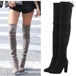 Wedge Gray Knee Boots Online | Wedge Gray Knee Boots for Sale