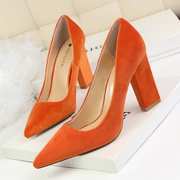 Discount Chunky Heeled Orange Shoes | 2017 Chunky Heeled Orange ...