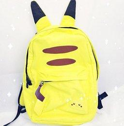 Pikachu mochila mochila escuela mochila bolsa de libros con el oído mochila de lona con los oídos moda anime poke bolsa de escuela regalo de Navidad KKA1020