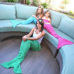 13 couleurs DHL bébé crochet sirène couvertures couvertures à la main sac de couchage de sirène tricot Sofa couvertures 90 * 50cm C1730