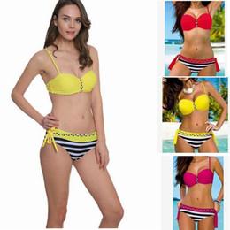 le donne spinge verso lalto linsieme del bikini swimwear brasiliano sexy costume da bagno moda costume da bagno a righe beachwear biquini top kka1485