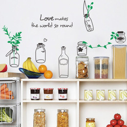 Discount Make Decoration Pieces Home Love Makes The World So Round Drift Bottles Green Branch Decal