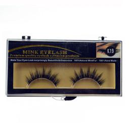 100% Natural Minkfur Mão feita longa cílios falsos marca Fashion Lash Blink Black Full Fake tira cílios MINK EyELAES ferramenta de maquiagem 2 pares / lote