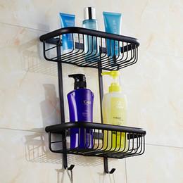 discount corner bath shelves double layer space aluminum bathroom shelf antique black bronze corner shelf basket - Corner Bathroom Shelf