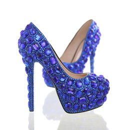 Rhinestone Heels Royal Blue Online | Royal Blue Rhinestone Wedding ...