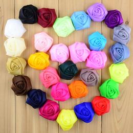 Wholesale Venta al por mayor Diy gasa Tulle Rose florece el accesorio del pelo de la flor de la venda del bebé que envía libremente