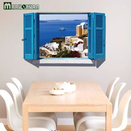 online shopping Diy Home Decor Mediterranean Blue Scenery Fake Window d Wall Sticker Home Decoration Wall Frames For Room Decoration