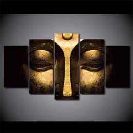 5 pcs set no frame half face buddha paintings on canvas modern home decoration wall art print picture room decor wall poster