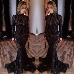2017 Vestido de noche Sequined de la sirena del negro de la manera Vestido de Soiree Formal Vestido De Festa