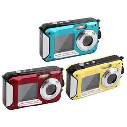 24MP Pantallas dobles impermeables Anti-shake cámara digital (2,7 + 1,8 pulgadas) Full HD 1080p 16x zoom videocámara DVR azul / rojo / amarillo