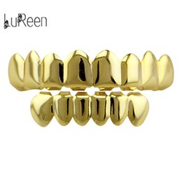 Lureen New Arrived Gold / Rose Plaqué Or Grillz 8 Top Teeth 6 Fond Grillz Avec Silicone Modèle Vampire HipHop Bijoux NL0036