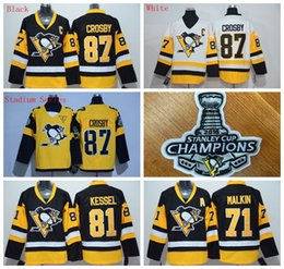 Penguins # 87 Sidney Crosby Hommes Maillots de hockey Stitch 2016 Stanley Cup Champion Patches Noir / Blanc / Stade Série 3 Styles Hockey Uniforme