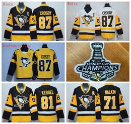 Pingüinos # 87 Sidney Crosby Hombres Hockey Jerseys Stitch 2016 Campeón de la Copa Stanley Patches Negro / Blanco / Estadio Serie 3 Estilos Uniforme de Hockey