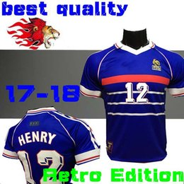 online shopping FRANCE retro soccer jerseys home top thai AAA customzied  name number zidane Henry soccer 43894587c