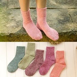 Discount polka dot hose 5 Pairs Women Autumn Winter Thick Knitted Warm Socks Color Match Fashion Comfortable Stocking Hose 161112