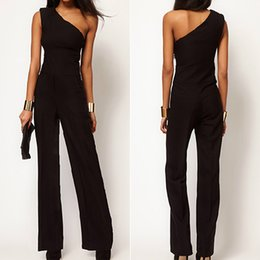 Sexy One Shoulder Black Jumpsuits Suppliers | Best Sexy One ...