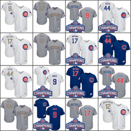 2017 Men's Chicago Cubs Jersey 17 Kris Bryant 44 Anthony Rizzo 9 Javier Baez 12 Kyle Schwarber World Series Champions Jerseys de baseball en or