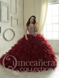 Wholesale Robe de bal en or rouge Organza Robe de quinceanera en Bourgogne Sweet Robes en perles Robe débardeur sweetheart Cheap Vestidos De