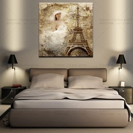 16x16 inch quality artist canvas home decoration eiffel tower wall picture without frame on the back canvas picture printing