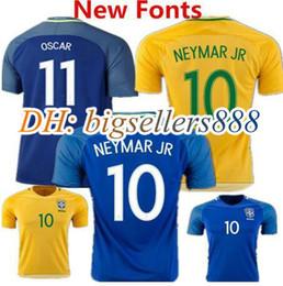 top thai quality brazil soccer jersey 16 17 soccer jersey neymar jr home pele oscar d.costa david lu