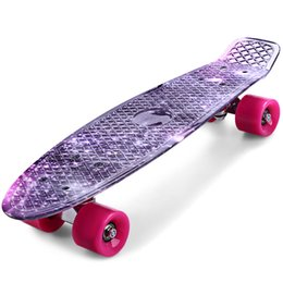 CL 22 inch Long Board Printing Purple Graffiti Skate Board Starry Sky Pattern Retro Skateboard Longboard Mini Cruiser Purple Starry Sky