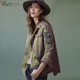 VARBOO_ELSA army green casual basic jacket For Women coat 2017 autumn single breasted vintage coats ladies denim jacket rock punk outwear