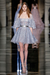 2017 navy mini dress 2017 Zuhair Murad Short Prom Dresses Gray Fashion Lace Applique Beaded Half Sleeve Couture Custom A-line Strapless Mini Party Evening Gowns cheap navy mini dress
