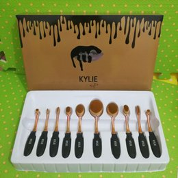 NEW Dropship Кайли Овальные кисти для макияжа Косметические фонд BB крем Румяна 10 штук Макияж инструменты