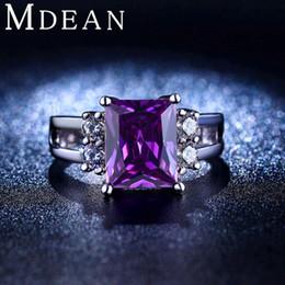 mdean white gold plated purple amethyst jewelry cz diamond wedding rings for women engagement bague bijoux accessories msr202 - Purple Diamond Wedding Ring